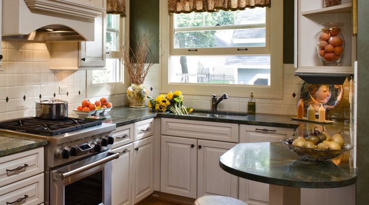 A view of this new Kitchen Designed by cabinetry, countertop, cuisine classique, home, interior design, kitchen, room, brown, gray