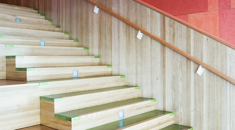 A view of some wooden flooring by Northern architecture, daylighting, floor, flooring, handrail, hardwood, house, interior design, stairs, wall, wood, white, red