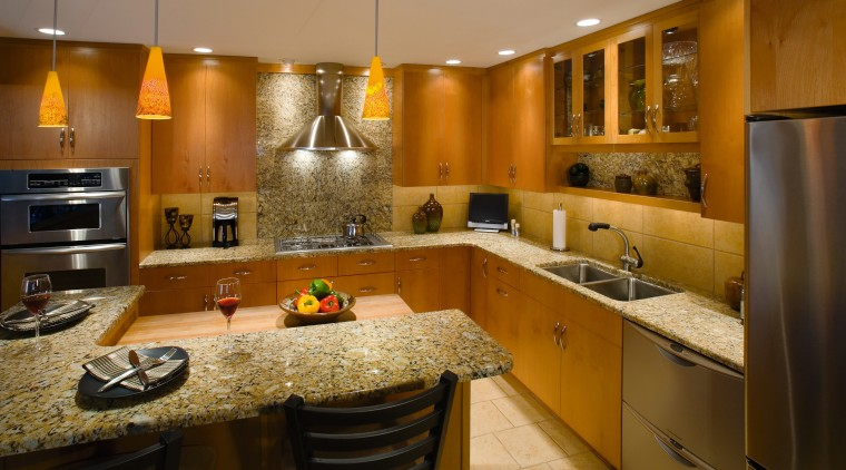 A view of frameless cabinets in alder, with cabinetry, countertop, cuisine classique, interior design, kitchen, room, under cabinet lighting, brown