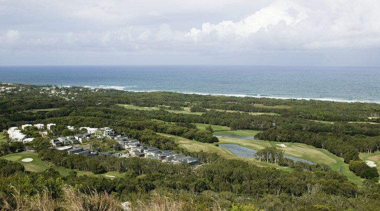 A view of the Visage development developed by bay, cape, coast, headland, land lot, nature reserve, plant community, promontory, sea, sky, brown, white