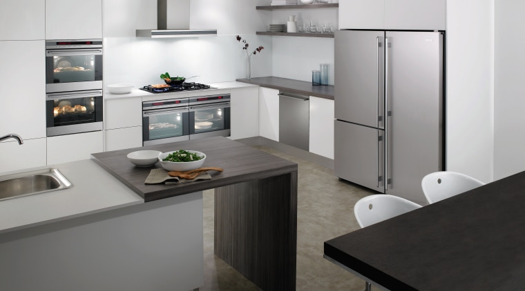 The E:Line double electric wall oven from Electrolux cabinetry, countertop, cuisine classique, home appliance, interior design, kitchen, product design, gray