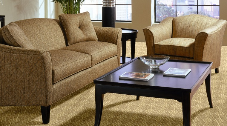A view of these living spaces featuring sisal carpet, chair, coffee table, couch, floor, flooring, furniture, hardwood, interior design, laminate flooring, living room, loveseat, outdoor furniture, product design, table, wood, wood flooring, brown