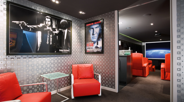 A view of this 12-seater theatre features its interior design, room, black, gray