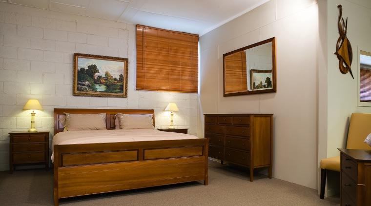 A view of some wooden furniture from Noblewood. bed, bed frame, bedroom, furniture, interior design, room, wood, gray, brown