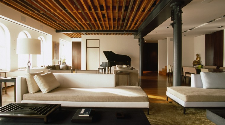 A view of this New york apartment designed architecture, ceiling, floor, furniture, interior design, living room, room, brown, black