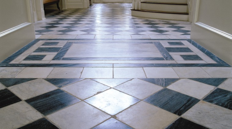 A view of this marble black and white daylighting, floor, flooring, hardwood, tile, gray
