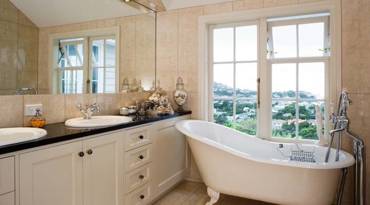 Practical elegance extends to a heated mirror, marble bathroom, estate, home, interior design, property, real estate, room, window, gray, brown