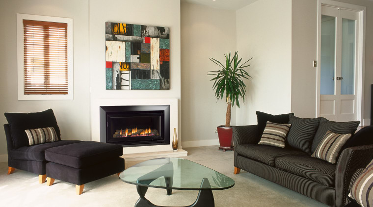 A view of a fireplace from Escea. ceiling, floor, home, interior design, living room, property, real estate, room, window, white