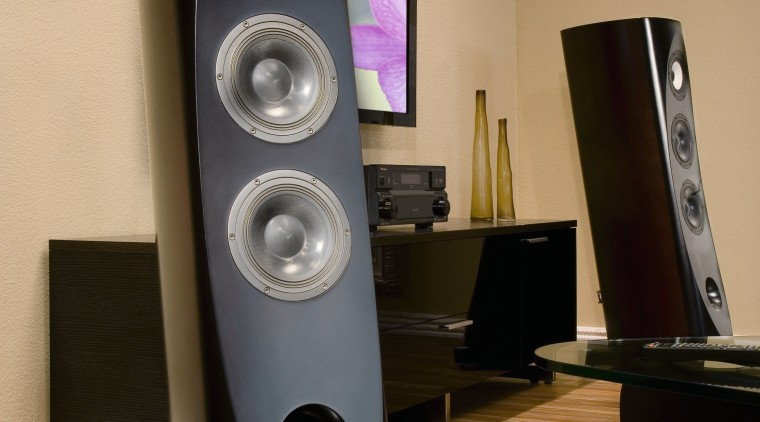 A vie wof some home theatre equipment. audio, audio equipment, computer speaker, electronic device, electronics, loudspeaker, multimedia, product, product design, sound, sound box, speaker, subwoofer, technology, brown, orange