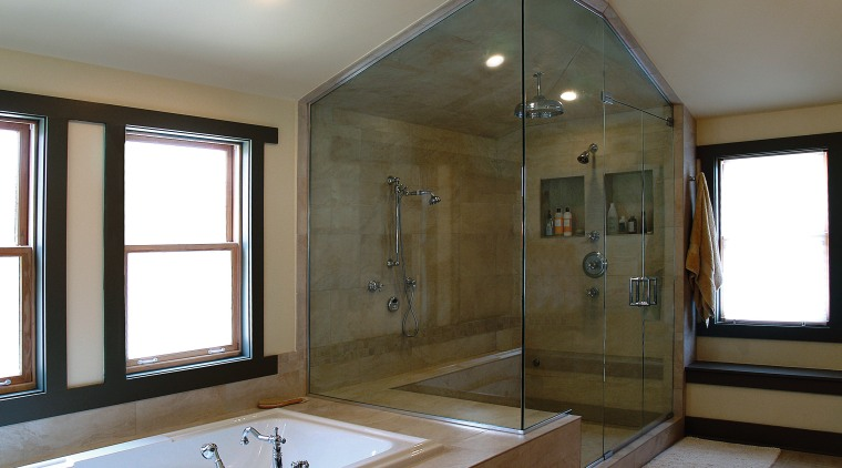 BathWorks Specializes in custom-designed shower enclouseres, and mirrors bathroom, bathtub, ceiling, estate, floor, home, interior design, real estate, room, window, gray, brown