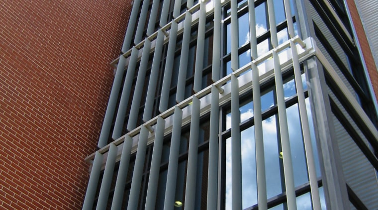 A view of the louvres/sunshades installed on the architecture, brutalist architecture, building, classical architecture, commercial building, condominium, corporate headquarters, daylighting, daytime, facade, headquarters, landmark, line, metropolis, metropolitan area, skyscraper, structure, tower block, window, gray