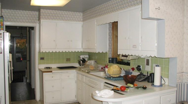 The original kitchen, part of a 1940s Georgian-style countertop, cuisine classique, interior design, kitchen, real estate, room, gray