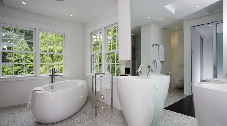 This renovation project balances the beauty of nature architecture, bathroom, estate, home, interior design, property, real estate, room, window, gray