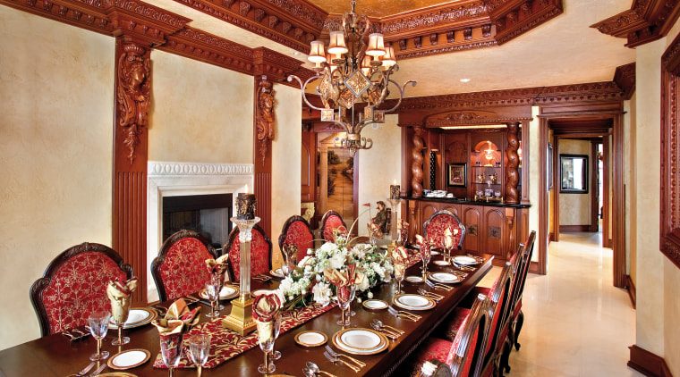 The bar area is framed by Enkeboll Grape dining room, function hall, interior design, room, red, orange