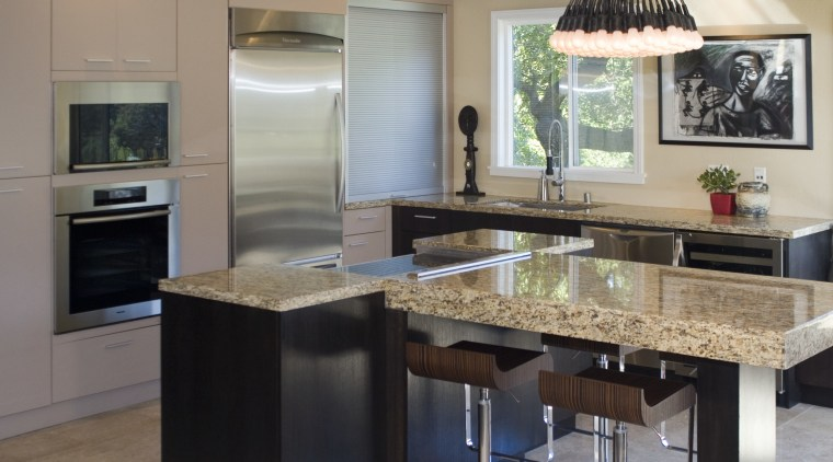 A view of a kitchen designed by Blue cabinetry, countertop, cuisine classique, interior design, kitchen, room, gray, black