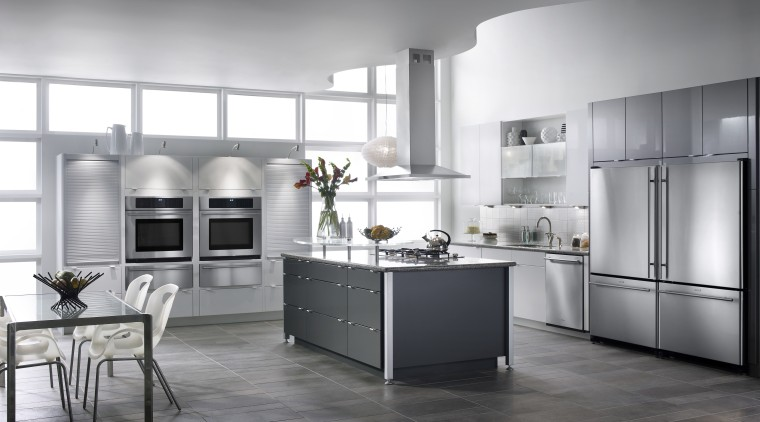 A view of this kitchen featuring the latest cabinetry, countertop, cuisine classique, home appliance, interior design, kitchen, product design, room, gray
