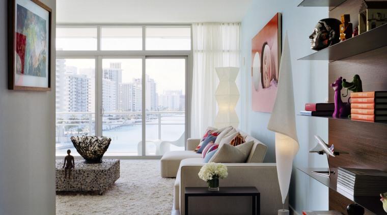 View of living room inside apartment from Gorlin ceiling, furniture, home, interior design, living room, room, shelving, gray, white