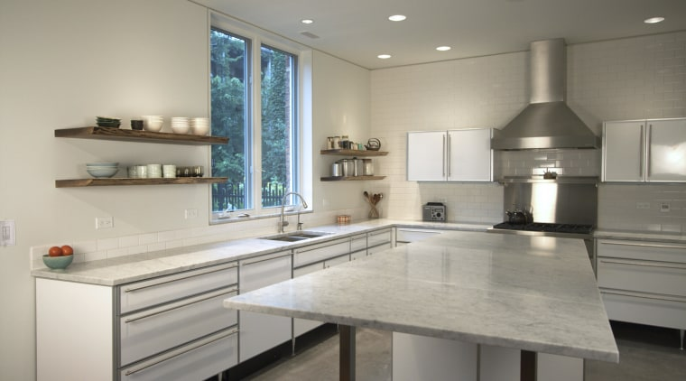The owners of this home wanted a clean cabinetry, countertop, cuisine classique, interior design, kitchen, room, gray