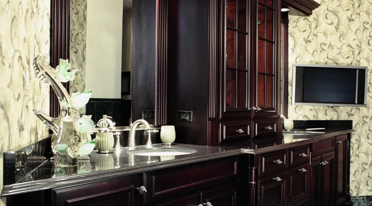 Professional input is essential when planning a bathroom. cabinetry, countertop, furniture, interior design, kitchen, black