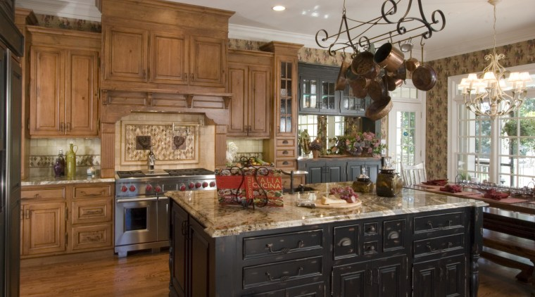 A view of this kitchen designed by Kitchen cabinetry, countertop, cuisine classique, home, interior design, kitchen, room, brown