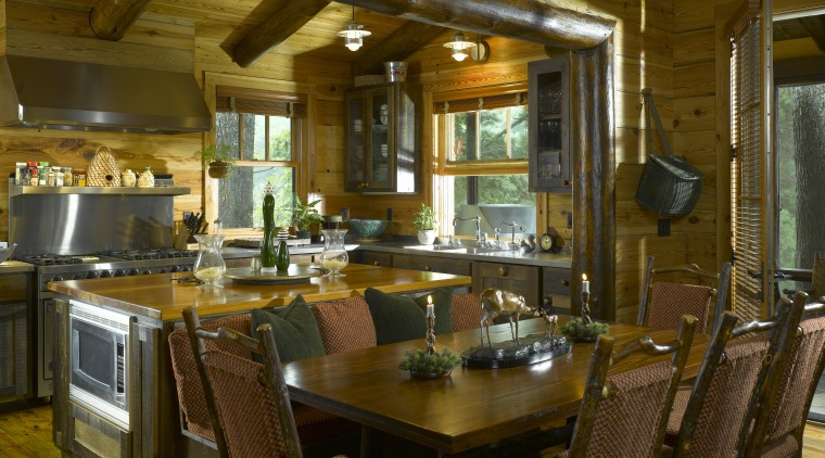 The kitchen is designed to be speedily accessed dining room, interior design, kitchen, real estate, room, table, brown