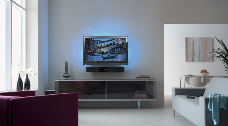 A view a home theatre system from Phillips display device, flat panel display, furniture, home, interior design, living room, room, shelving, table, television, gray