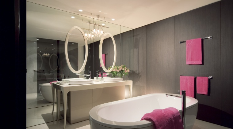 Bathrooms are designed to be both modern and bathroom, ceiling, interior design, product design, room, black, orange