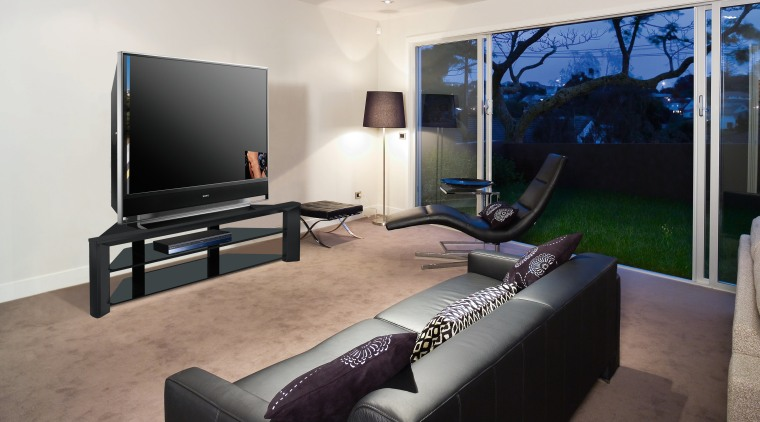 A view of a home theatre system from furniture, interior design, living room, real estate, room, gray, black