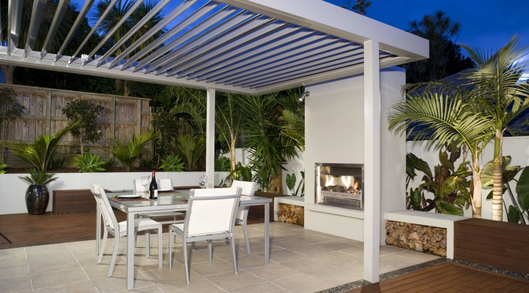 An exterior view of the patio area, decking, backyard, interior design, outdoor structure, patio, pergola, property, real estate, roof, shade, gray, brown