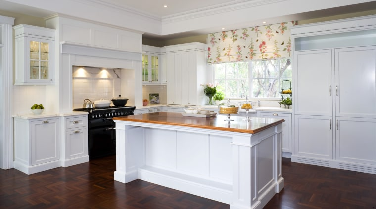 View of kitchen designed by architect Gary McFarlane cabinetry, countertop, cuisine classique, floor, flooring, interior design, kitchen, real estate, room, window, gray