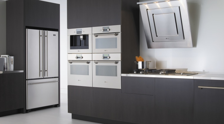 view of kitchen appliances by Maytag countertop, home appliance, kitchen, kitchen appliance, kitchen stove, major appliance, product, product design, refrigerator, room, gray, black