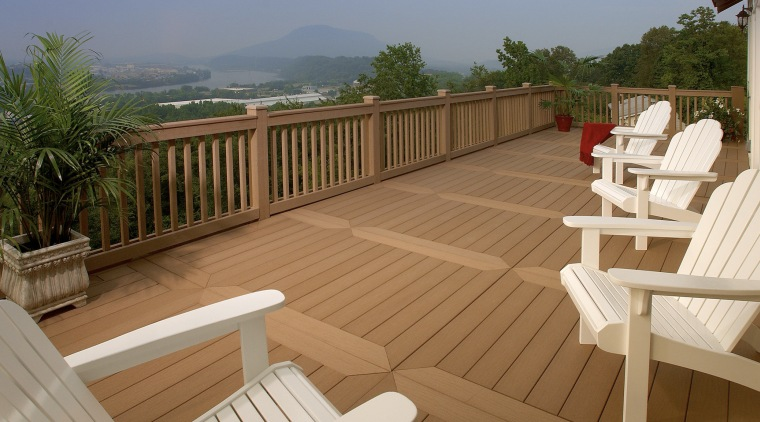 View of deck by WeatherBest Decking & Railing. deck, floor, hardwood, outdoor furniture, outdoor structure, property, real estate, sunlounger, wood, wood stain, brown