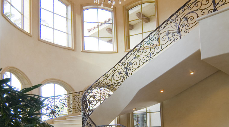 View of stone floor by Walker Zanger, and architecture, baluster, ceiling, daylighting, estate, handrail, home, interior design, lobby, stairs, wall, window, orange, gray