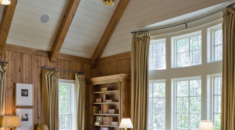 View of house designed by William T Baker beam, ceiling, daylighting, estate, hardwood, home, interior design, living room, real estate, room, window, wood, brown, gray