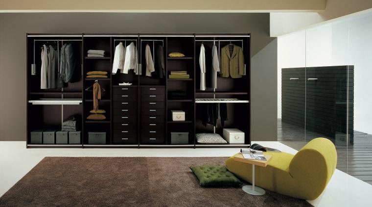 View of wardrobe system Prestige Designs. bookcase, furniture, interior design, living room, product design, room, shelf, shelving, black