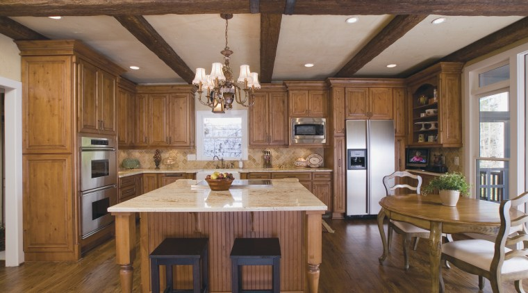 View of Totally Dependable Contracting Services kitchen remodeling beam, cabinetry, ceiling, countertop, cuisine classique, dining room, floor, flooring, hardwood, interior design, kitchen, real estate, room, wood, wood flooring, brown