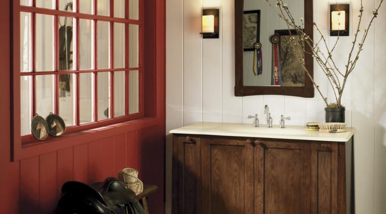 View of Kohler bathroomware. cabinetry, floor, flooring, furniture, interior design, room, table, window, wood, orange, brown, red