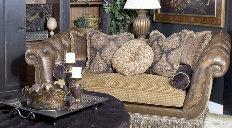 View of room decorated by Home Fashion Centre. chair, couch, furniture, home, interior design, living room, loveseat, room, table, black, gray