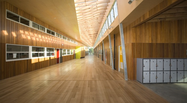 View of Williamstown High School in Melbourne. Designed architecture, ceiling, daylighting, floor, flooring, hardwood, interior design, laminate flooring, lobby, structure, wood, wood flooring, brown