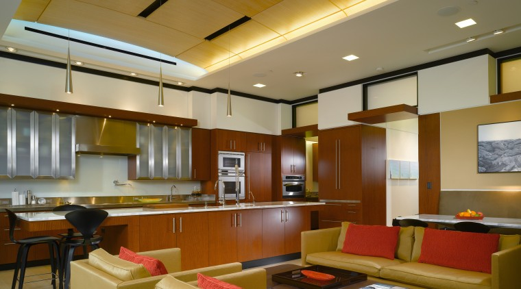 view of kitchen from family area featuring, lighting, ceiling, interior design, lobby, brown
