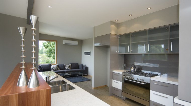 A view of a home built by CBANZ. countertop, interior design, kitchen, real estate, room, gray