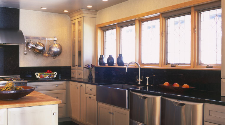 View of Fisher & Paykal Dishdrawers. cabinetry, ceiling, countertop, cuisine classique, interior design, kitchen, lighting, room, under cabinet lighting, white