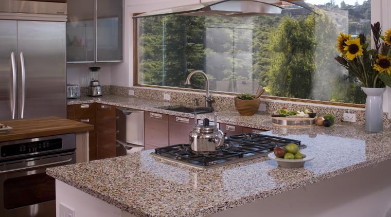 Recycled glass kitchen benchtop countertop, granite, interior design, kitchen, gray