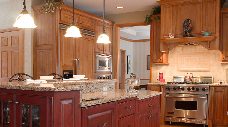 Finage cabinetry kitchen, with countertops, kitchen appliances. cabinetry, countertop, cuisine classique, floor, flooring, furniture, hardwood, home, interior design, kitchen, room, wood, wood flooring, brown