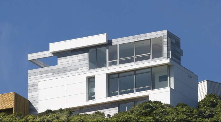 Exterior view of contemporary house from architects Richard architecture, building, cloud, condominium, corporate headquarters, daytime, elevation, facade, headquarters, home, house, real estate, residential area, sky, blue, brown