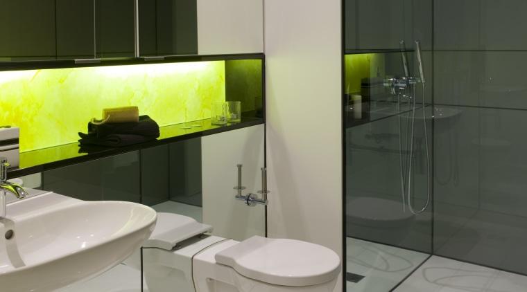 Contemporary bathroom bathroom, floor, flooring, glass, interior design, plumbing fixture, product design, room, sink, tile, wall, gray