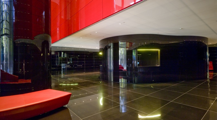 Lumiere Residences entrance lobby architecture, ceiling, interior design, lighting, lobby, structure, brown, red