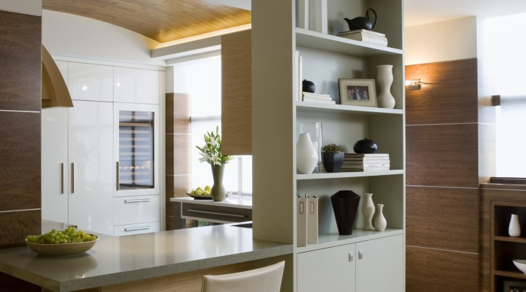 View of a kitchen designed and built by cabinetry, ceiling, countertop, cuisine classique, furniture, interior design, kitchen, room, table, gray, brown
