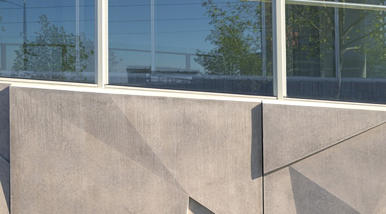 Glass reinforced panels (GRC) on exterior of commerical architecture, glass, handrail, line, wall, window, gray
