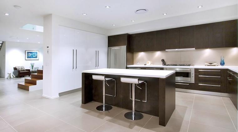 Open plan kitchen view, with island bench top, countertop, cuisine classique, floor, flooring, interior design, kitchen, property, real estate, room, white, gray